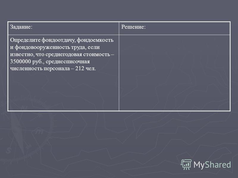 Задание:Решение: Определите фондоотдачу, фондоемкость и фондовооруженность труда, если известно, что среднегодовая стоимость – 3500000 руб., среднесписочная численность персонала – 212 чел.