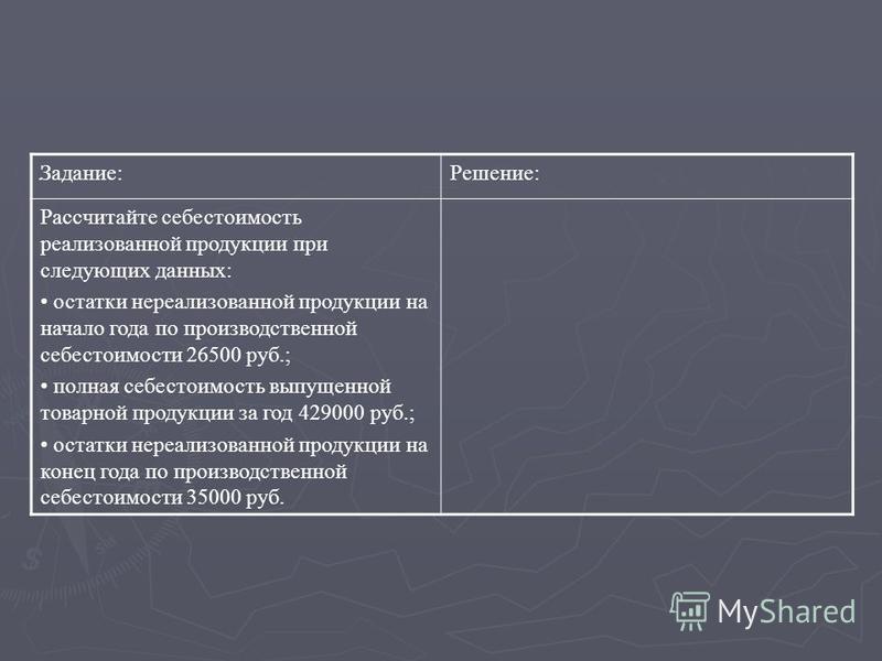 . Задание:Решение: Рассчитайте себестоимость реализованной продукции при следующих данных: остатки нереализованной продукции на начало года по производственной себестоимости 26500 руб.; полная себестоимость выпущенной товарной продукции за год 429000
