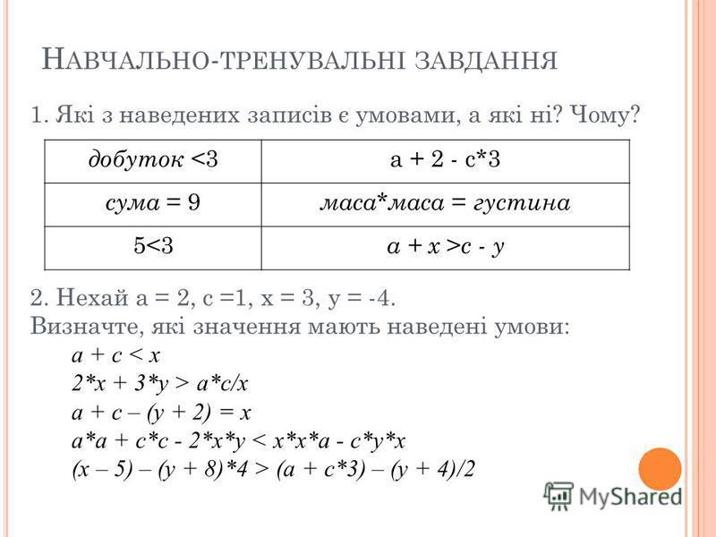 Н АВЧАЛЬНО - ТРЕНУВАЛЬНІ ЗАВДАННЯ добуток <3а + 2 - с*3 сума = 9 маса * маса = густина 5<3 а + х > с - у 1. Які з наведених записів є умовами, а які ні? Чому? 2. Нехай а = 2, с =1, х = 3, у = -4. Визначте, які значення мають наведені умови: а + с < х