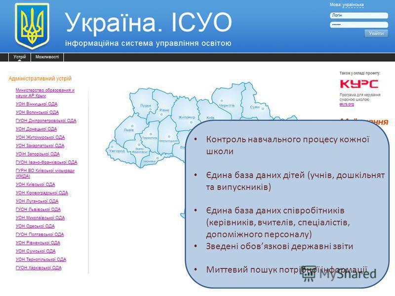 Аналіз освіти в Україні на Всесвітньому Економічному Форумі Контроль навчального процесу кожної школи Єдина база даних дітей (учнів, дошкільнят та випускників) Єдина база даних співробітників (керівників, вчителів, спеціалістів, допоміжного персоналу