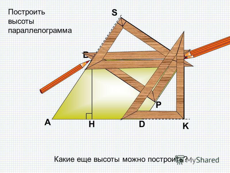 А ВС D H K Построить высоты параллелограмма Какие еще высоты можно построить? Р S
