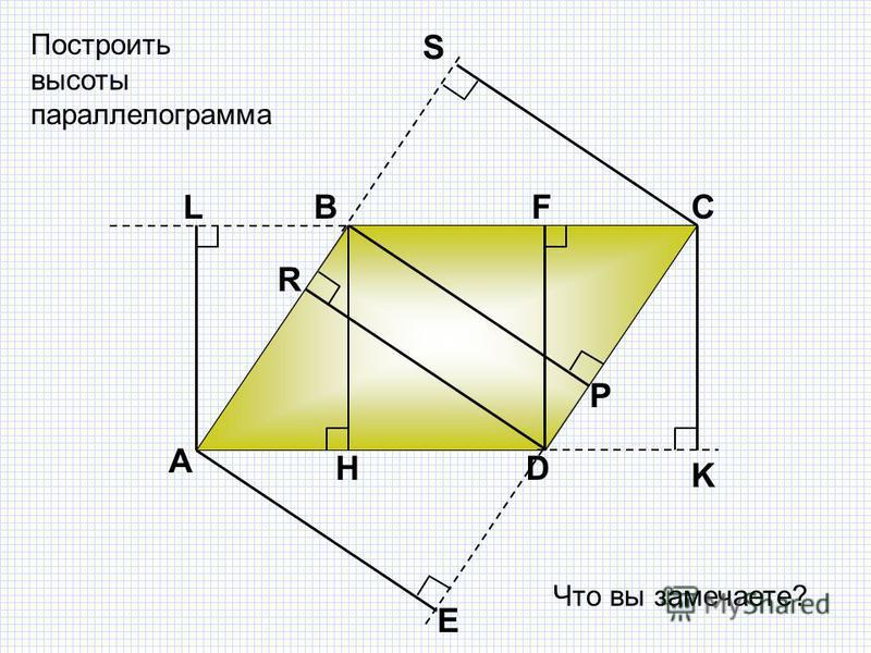 А ВС D H K Построить высоты параллелограмма Р S FL R E Что вы замечаете?