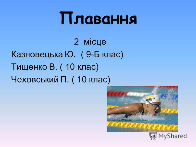 Плавання 2 місце Казновецька Ю. ( 9-Б клас) Тищенко В. ( 10 клас) Чеховський П. ( 10 клас)