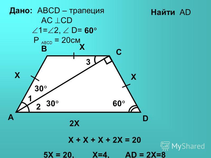 Дано: ABCD – параллелограмм CM - биссектриса AM=2, MB=8. Найти: P ABCD P= (8+2+8) 2 =36