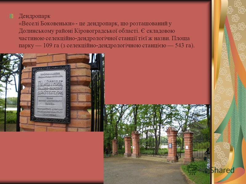 Дендропарк «Веселі Боковеньки» - це дендропарк, що розташований у Долинському районі Кіровоградської області. Є складовою частиною селекційно-дендрологічної станції тієї ж назви. Площа парку 109 га (з селекційно-дендрологічною станцією 543 га).