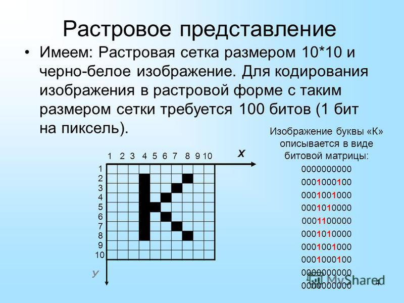 4 Имеем: Растровая сетка размером 10*10 и черно-белое изображение. Для кодирования изображения в растровой форме с таким размером сетки требуется 100 битов (1 бит на пиксель). Х 1 2 3 4 5 6 7 8 9 10 2 5 7 У 1 3 4 6 8 9 10 Растровое представление Изоб