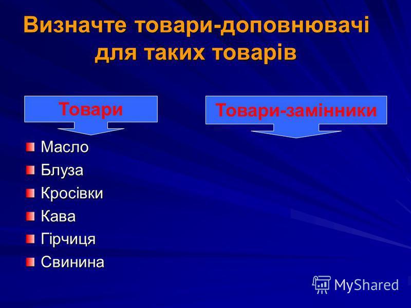 Визначте товари-доповнювачі для таких товарів МаслоБлузаКросівкиКаваГірчицяСвинина Товари Товари-замінники