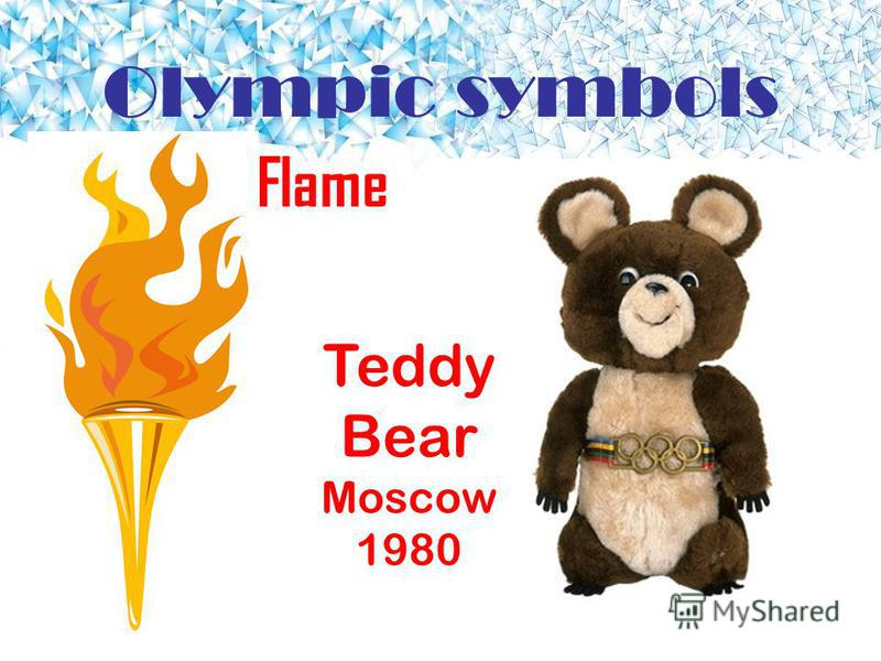 Olympic symbols Flame Teddy Bear Moscow 1980