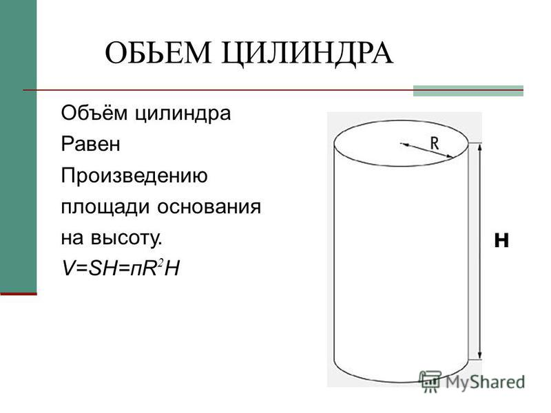 ОБЬЕМ ЦИЛИНДРА Объём цилиндра Равен Произведению площади основания на высоту. V=SH=пR 2 H н