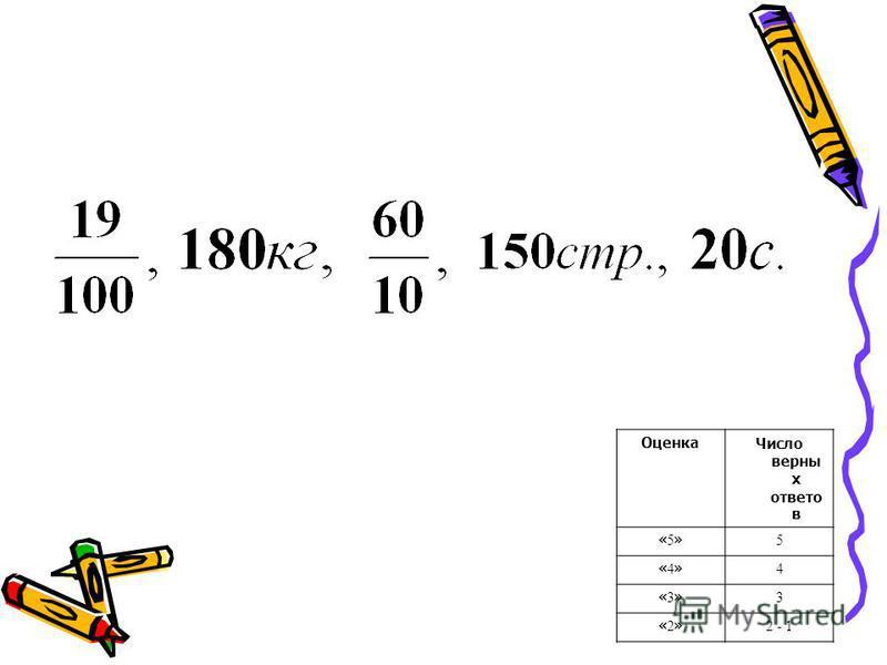 Оценка Число верны х ответов «5»«5» 5 «4»«4» 4 «3»«3» 3 «2»«2» 2 - 1