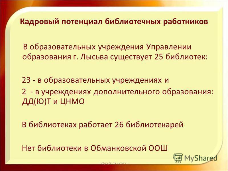 http://aida.ucoz.ru Кадровый потенциал библиотечных работников В образовательных учреждения Управлении образования г. Лысьва существует 25 библиотек: 23 - в образовательных учреждениях и 2 - в учреждениях дополнительного образования: ДД(Ю)Т и ЦНМО В