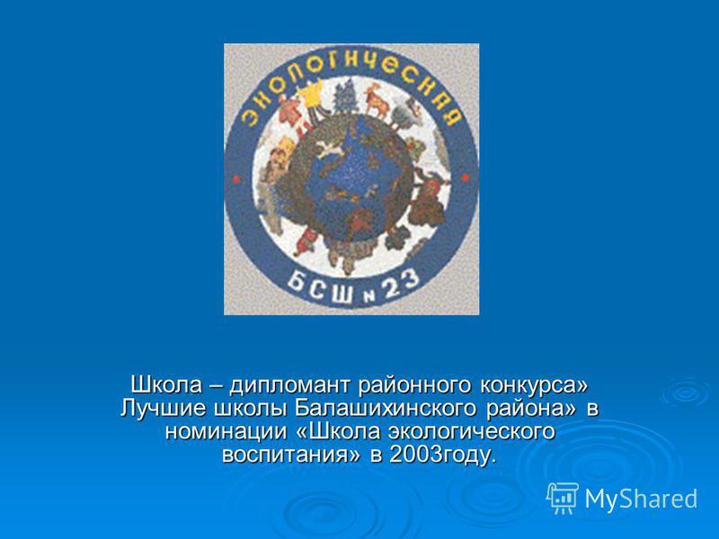 Школа – дипломант районного конкурса» Лучшие школы Балашихинского района» в номинации «Школа экологического воспитания» в 2003 году.