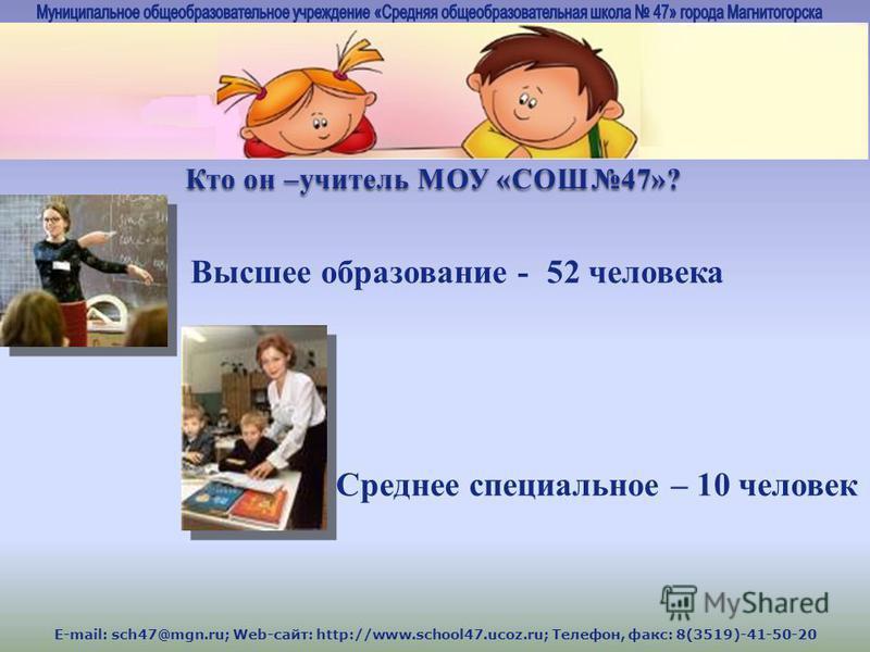 E-mail: sch47@mgn.ru; Web-сайт: http://www.school47.ucoz.ru; Телефон, факс: 8(3519)-41-50-20 Кто он –учитель МОУ «СОШ47»? Высшее образование - 52 человека Среднее специальное – 10 человек