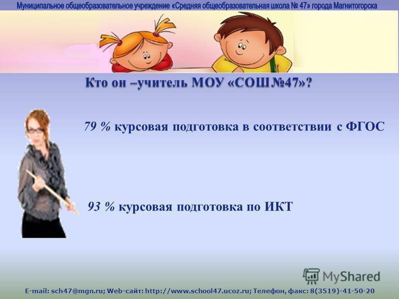 E-mail: sch47@mgn.ru; Web-сайт: http://www.school47.ucoz.ru; Телефон, факс: 8(3519)-41-50-20 79 % курсовая подготовка в соответствии с ФГОС 93 % курсовая подготовка по ИКТ Кто он –учитель МОУ «СОШ47»?