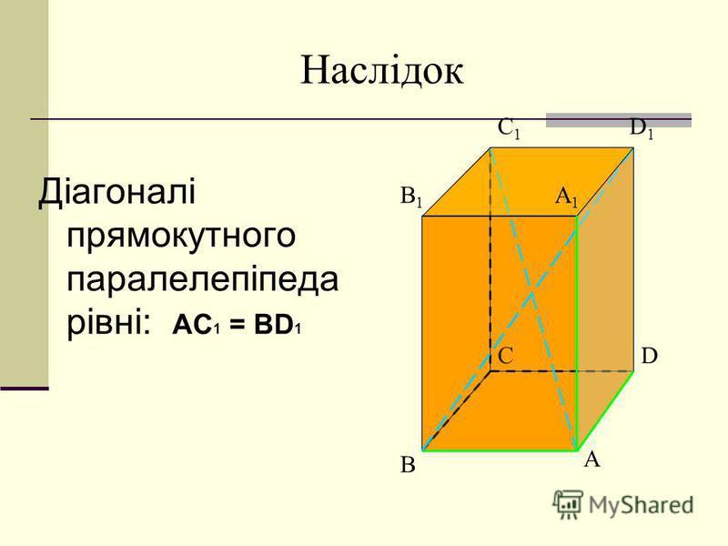 Наслідок Діагоналі прямокутного паралелепіпеда рівні: АС 1 = BD 1 A B CD B1B1 A1A1 C1C1 D1D1