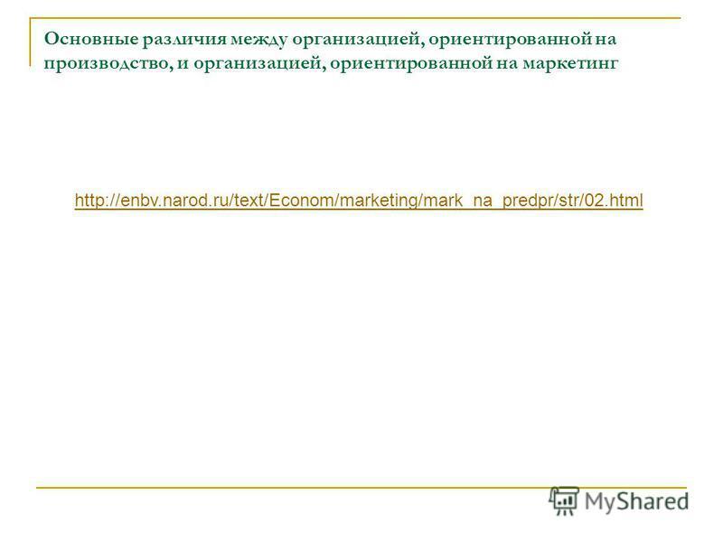 Основные различия между организацией, ориентированной на производство, и организацией, ориентированной на маркетинг http://enbv.narod.ru/text/Econom/marketing/mark_na_predpr/str/02.html