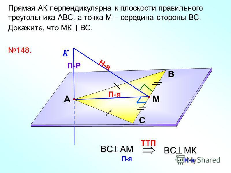 Прямая АК перпендикулярна к плоскости правильного треугольника АВС, а точка М – середина стороны ВС. Докажите, что МК ВС. В С АМ 148. К П-я П-Р Н-я TTП BC AМ П-я BC MК Н-я