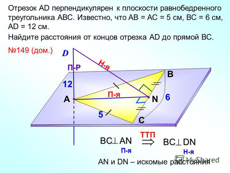 Отрезок АD перпендикулярен к плоскости равнобедренного треугольника АВС. Известно, что АВ = АС = 5 см, ВС = 6 см, АD = 12 см. Найдите расстояния от концов отрезка АD до прямой ВС. В С АN 149 (дом.)D П-я П-Р Н-я TTП BC AN П-я BC DN Н-я АN и DN – иском