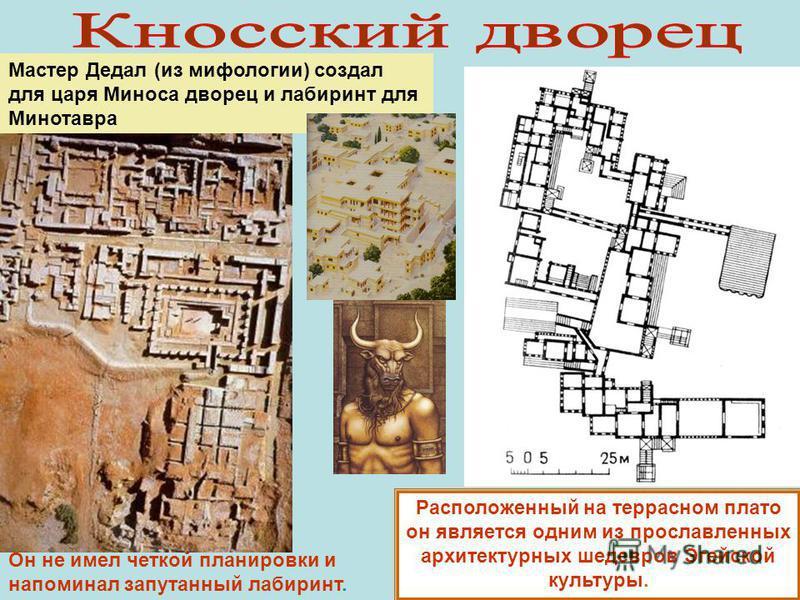 Мастер Дедал (из мифологии) создал для царя Миноса дворец и лабиринт для Минотавра Расположенный на террасном плато он является одним из прославленных архитектурных шедевров Эгейской культуры. Он не имел четкой планировки и напоминал запутанный лабир