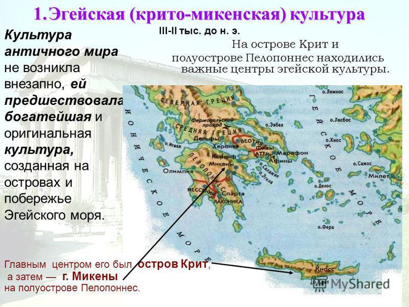 1. Эгейская (крито-микенская)культура 1. Эгейская (крито-микенская) культура III-II тыс. до н. э. Культура античного мира не возникла внезапно, ей предшествовала богатейшая и оригинальная культура, созданная на островах и побережье Эгейского моря. На