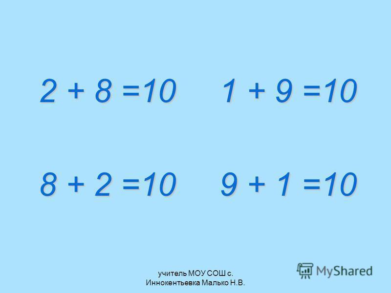 учитель МОУ СОШ с. Иннокентьевка Малько Н.В. 2 + 8 =101 + 9 =10 8 + 2 =109 + 1 =10