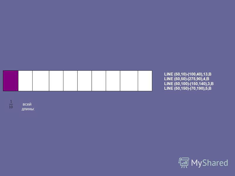 LINE (50,10)-(100,40),13,B LINE (50,50)-(275,90),4,B LINE (50,100)-(150,140),3,B LINE (50,150)-(70,190),5,B всей длины: