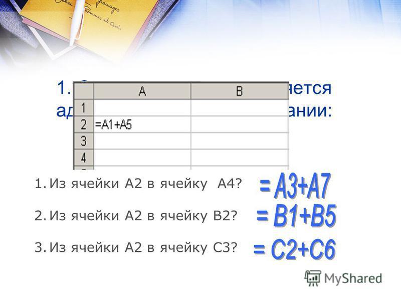 1. Определите, как поменяется адрес ячейки при копировании: 1. Из ячейки А2 в ячейку А4? 2. Из ячейки А2 в ячейку В2? 3. Из ячейки А2 в ячейку С3?