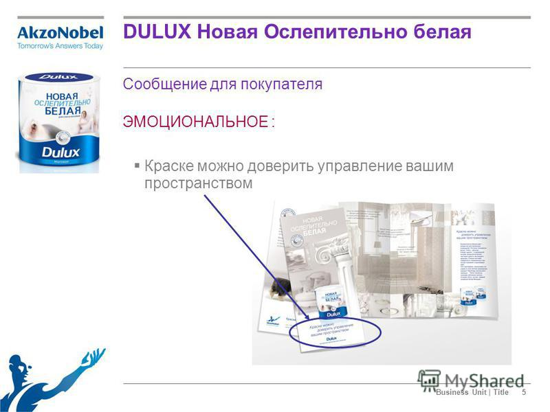 Business Unit | Title5 Сообщение для покупателя ЭМОЦИОНАЛЬНОЕ : Краске можно доверить управление вашим пространством DULUX Новая Ослепительно белая