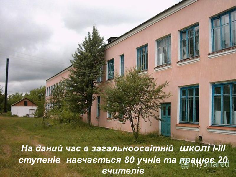 На даний час в загальноосвітній школі І-ІІІ ступенів навчається 80 учнів та працює 20 вчителів