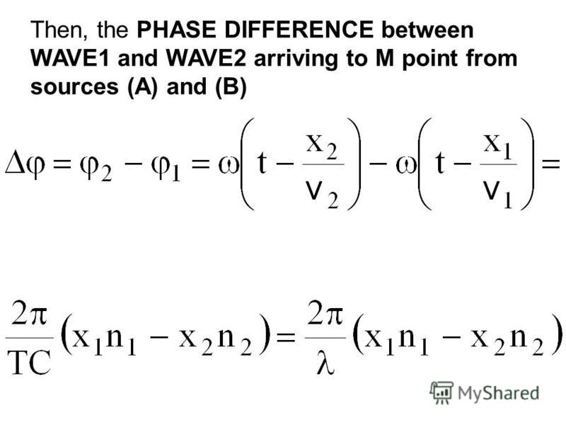 Then, the PHASE DIFFERENCE between WAVE1 and WAVE2 arriving to M point from sources (A) and (B)