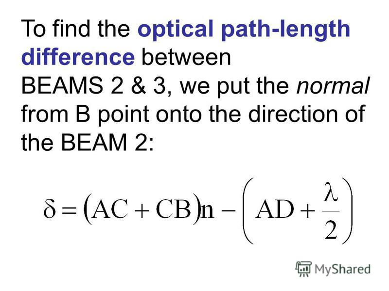 To find the optical path-length difference between BEAMS 2 & 3, we put the normal from B point onto the direction of the BEAM 2: