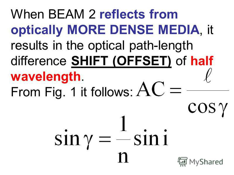When BEAM 2 reflects from optically MORE DENSE MEDIA, it results in the optical path-length difference SHIFT (OFFSET) of half wavelength. From Fig. 1 it follows: