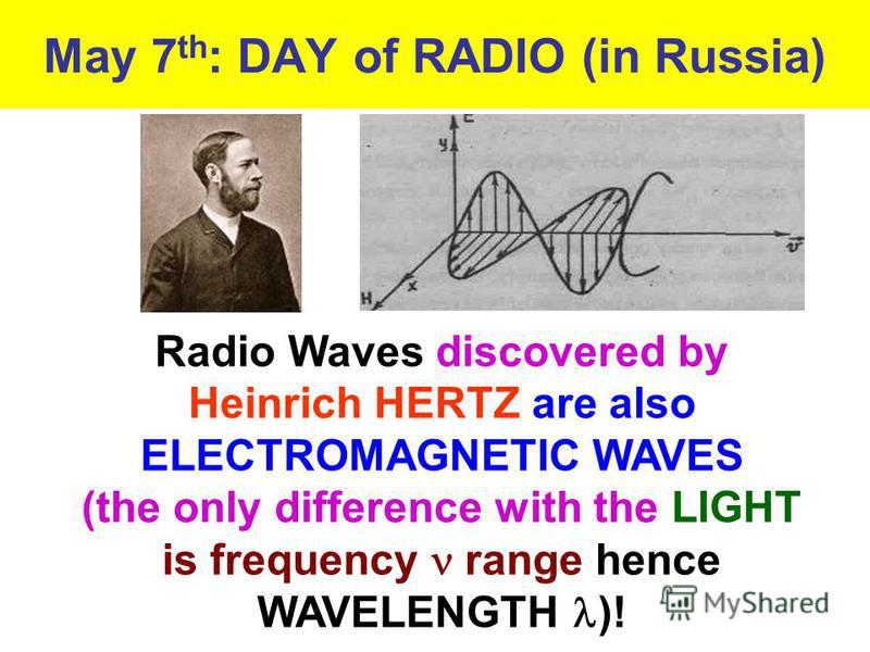 May 7 th : DAY of RADIO (in Russia) Radio Waves discovered by Heinrich HERTZ are also ELECTROMAGNETIC WAVES (the only difference with the LIGHT is frequency range hence WAVELENGTH )!