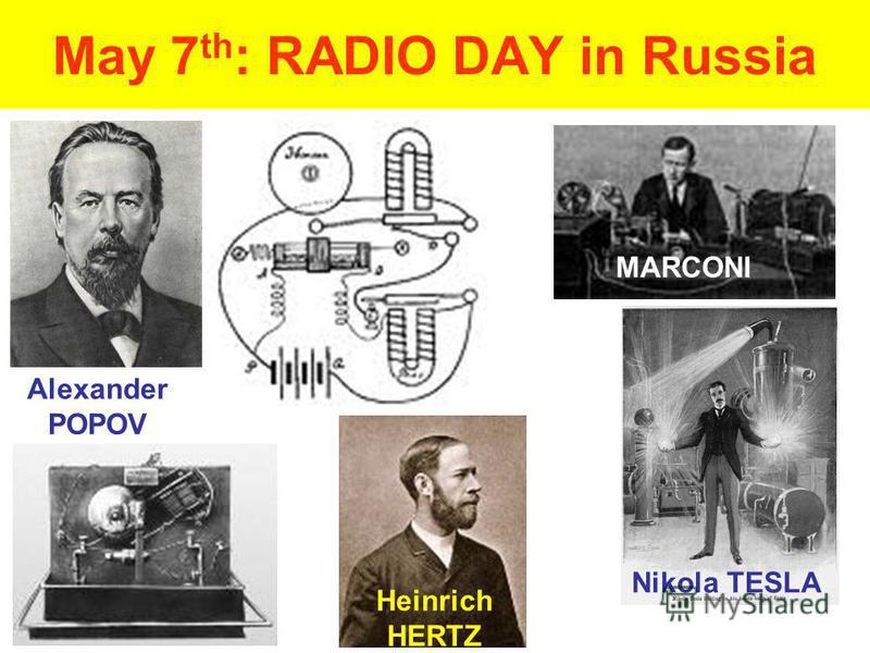 May 7 th : RADIO DAY in Russia Alexander POPOV MARCONI Heinrich HERTZ Nikola TESLA