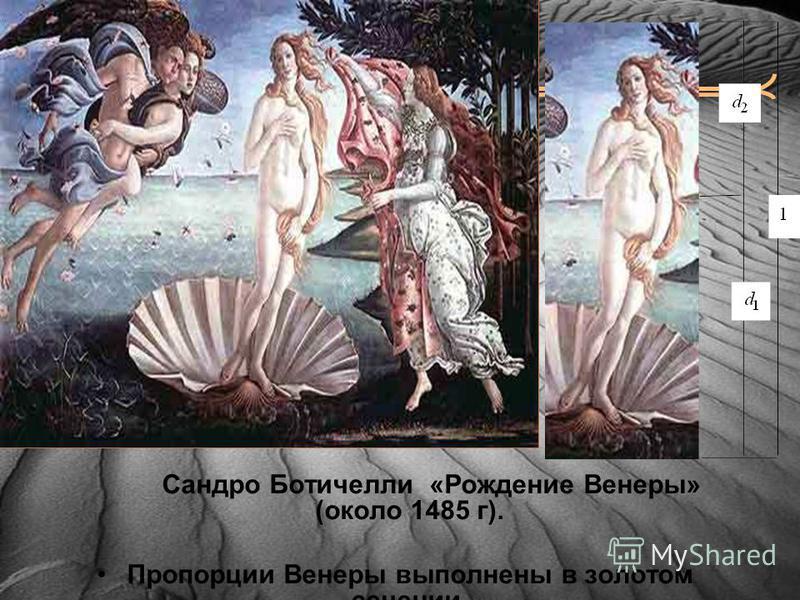 Сандро Ботичелли «Рождение Венеры» (около 1485 г). Пропорции Венеры выполнены в золотом сечении.