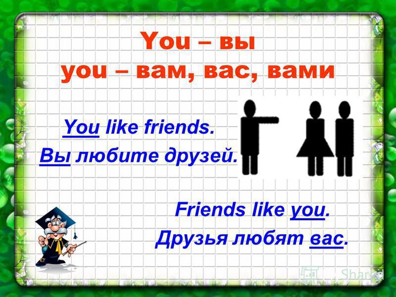 You – вы you – вам, вас, вами You like friends. Вы любите друзей. Friends like you. Друзья любят вас.