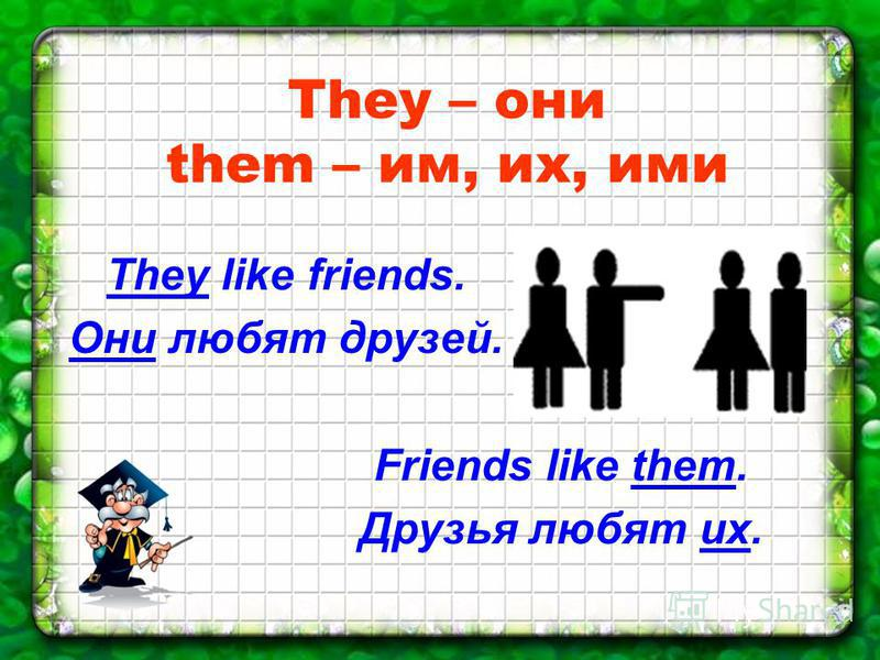 They – они them – им, их, ими They like friends. Они любят друзей. Friends like them. Друзья любят их.