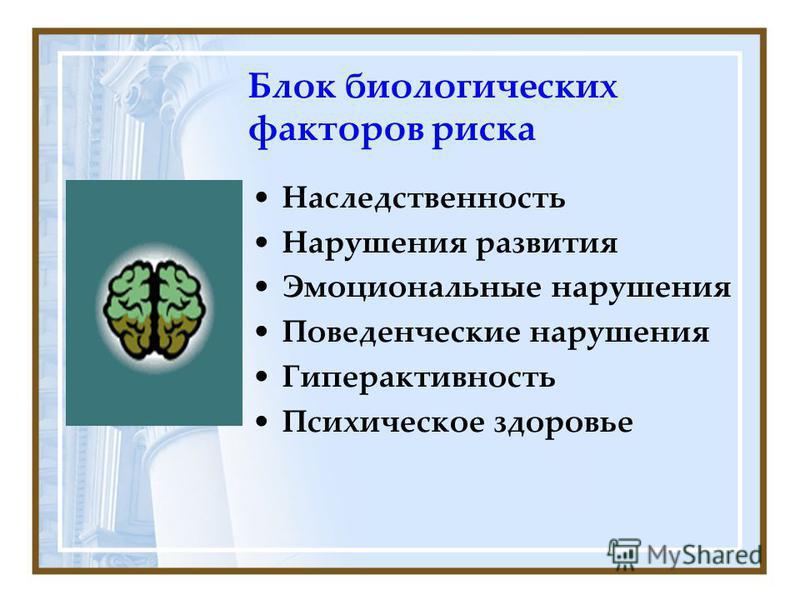 Блок биологических факторов риска Наследственность Нарушения развития Эмоциональные нарушения Поведенческие нарушения Гиперактивность Психическое здоровье
