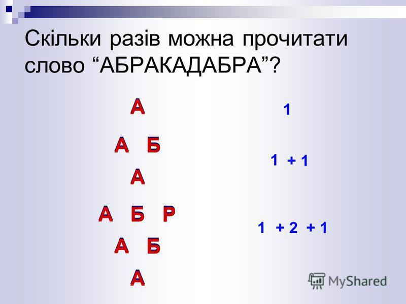 А А Скільки разів можна прочитати слово АБРАКАДАБРА? 1 АБ А АББ А 1 + 1 АБР АБ А АБР 1+ 2+ 1 БР А Р АБ Р Б А