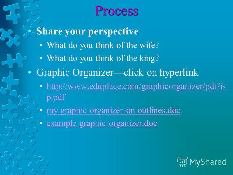 Process Share your perspective What do you think of the wife? What do you think of the king? Graphic Organizerclick on hyperlink http://www.eduplace.com/graphicorganizer/pdf/is p.pdfhttp://www.eduplace.com/graphicorganizer/pdf/is p.pdf my graphic org