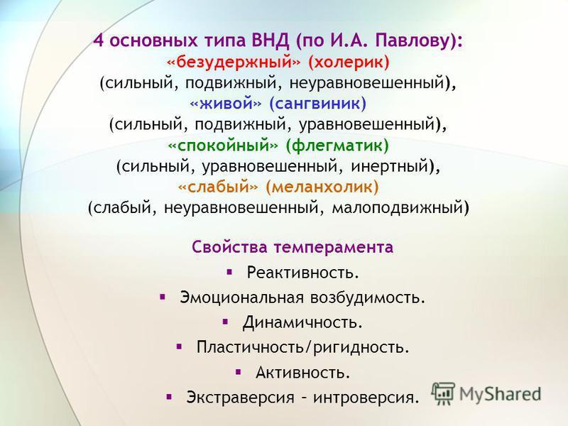 4 основных типа ВНД (по И.А. Павлову): «безудержный» (холерик) (сильный, подвижный, неуравновешенный), «живой» (сангвиник) (сильный, подвижный, уравновешенный), «спокойный» (флегматик) (сильный, уравновешенный, инертный), «слабый» (меланхолик) (слабы