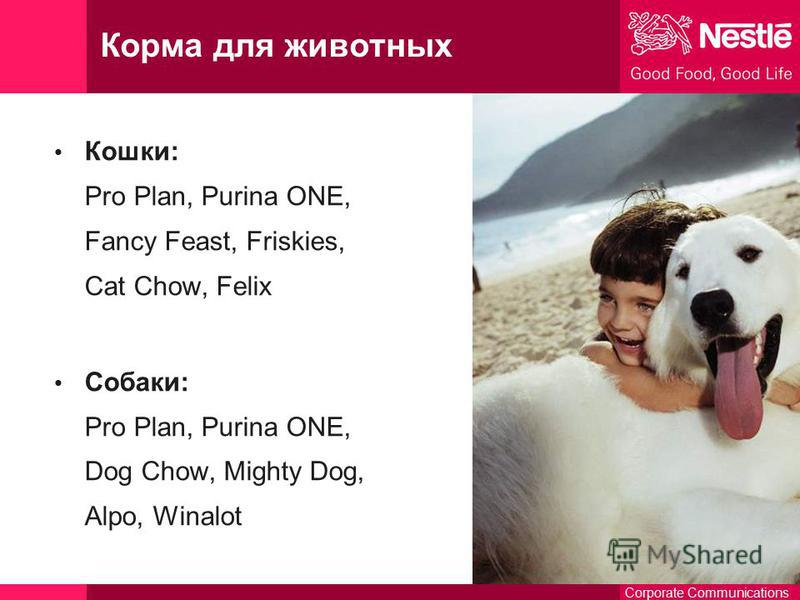 Corporate Communications Корма для животных Кошки: Pro Plan, Purina ONE, Fancy Feast, Friskies, Cat Chow, Felix Собаки: Pro Plan, Purina ONE, Dog Chow, Mighty Dog, Alpo, Winalot