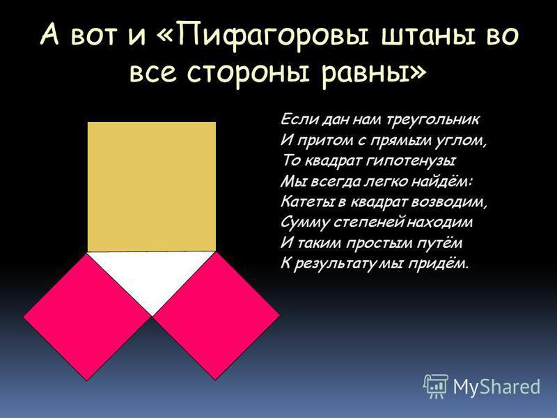 А вот и «Пифагоровы штаны во все стороны равны» Если дан нам треугольник И притом с прямым углом, То квадрат гипотенузы Мы всегда легко найдём: Катеты в квадрат возводим, Сумму степеней находим И таким простым путём К результату мы придём.