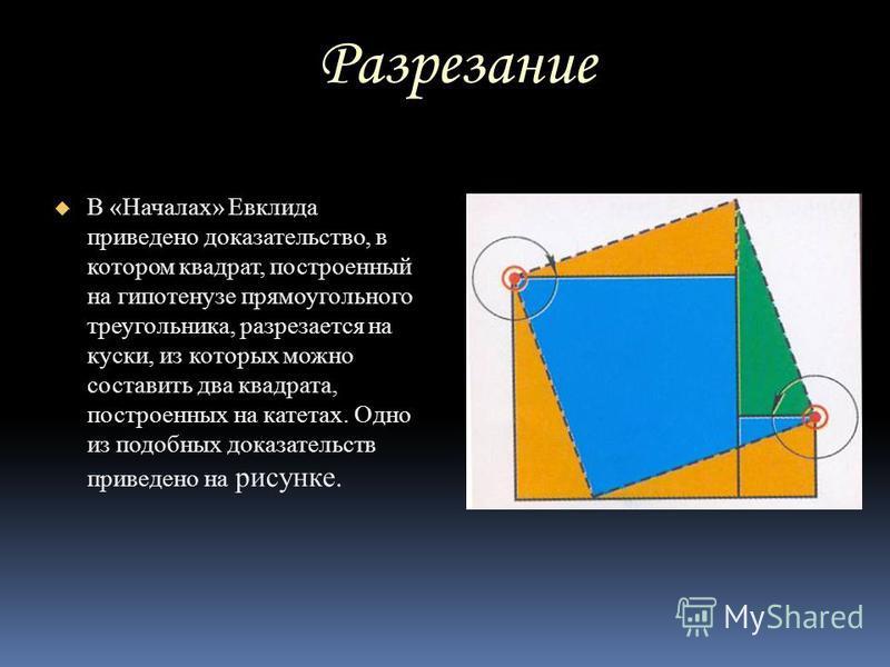 Разрезание Разрезание В «Началах» Евклида приведено доказательство, в котором квадрат, построенный на гипотенузе прямоугольного треугольника, разрезается на куски, из которых можно составить два квадрата, построенных на катетах. Одно из подобных дока
