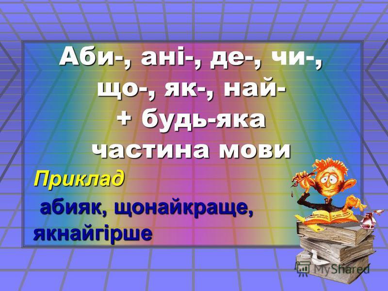 Аби-, ані-, де-,, що-, як-, най- Аби-, ані-, де-, чи-, що-, як-, най- + будь-яка частина мови Приклад абияк, щонайкраще, якнайгірше абияк, щонайкраще, якнайгірше