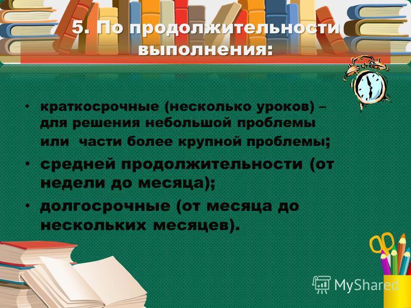 5. По продолжительности выполнения: краткосрочные (несколько уроков) – для решения небольшой проблемы или части более крупной проблемы ; средней продолжительности (от недели до месяца); долгосрочные (от месяца до нескольких месяцев).