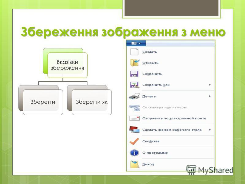 Збереження зображення з меню Вказівки збереження ЗберегтиЗберегти як