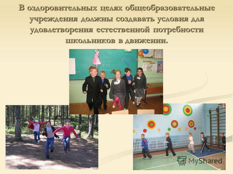 В оздоровительных целях общеобразовательные учреждения должны создавать условия для удовлетворения естественной потребности школьников в движении.
