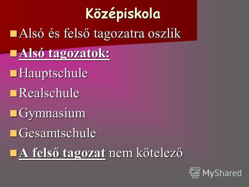 Középiskola Alsó és felső tagozatra oszlik Alsó és felső tagozatra oszlik Alsó tagozatok: Alsó tagozatok: Hauptschule Hauptschule Realschule Realschule Gymnasium Gymnasium Gesamtschule Gesamtschule A felső tagozat nem kötelező A felső tagozat nem köt