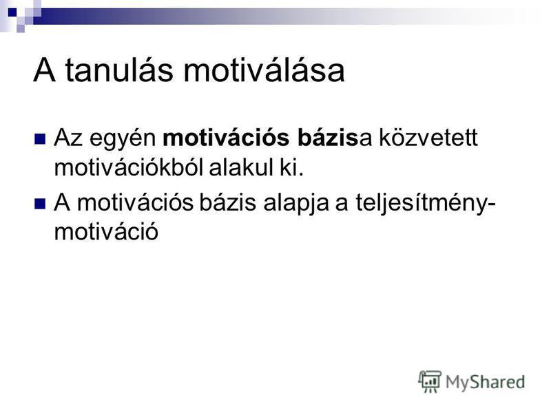A tanulás motiválása Az egyén motivációs bázisa közvetett motivációkból alakul ki. A motivációs bázis alapja a teljesítmény- motiváció